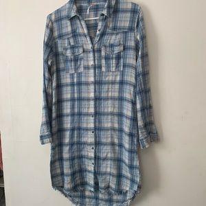 Free people flannel shirt dress with raw hem